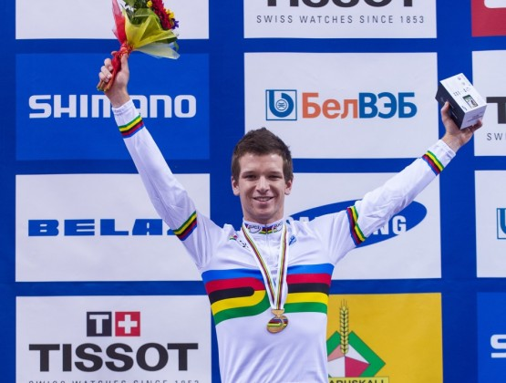Aaron Gate Omnium Champion 2013 Minsk World Championships on podium ID 18173