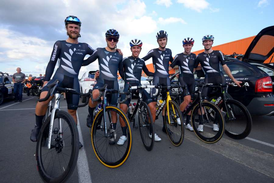 NZCC 2021 Stage One NZ National team on bikes by Dave Lintott 900 v2